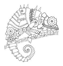 Steampunk style chameleon coloring book vector
