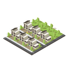 Isometric complex suburban buildings concept vector
