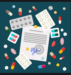 Pills in flat style design vector
