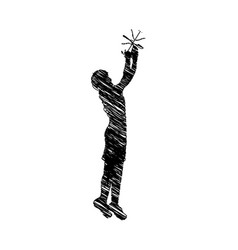 Silhouette drawing man playing basketball vector