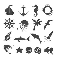 nautical sea related design elements set vector image