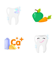 A tooth with brilliant sparkling an apple with vector