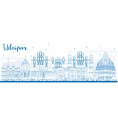 Outline udaipur skyline with blue buildings vector