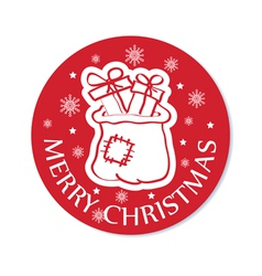 Round christmas card with santa bag vector