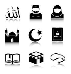 Set of islam icons vector