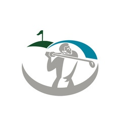 Golfer tee off golf retro vector