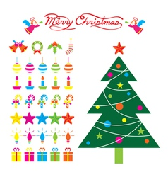 Christmas Tree and Decoration Objects vector image