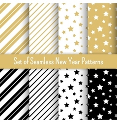 Set of black white and gold seamless new year vector