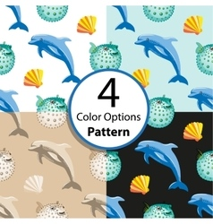 Four seamless pattern with dolphin and fish ball vector