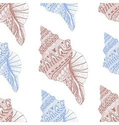 Zentangle stylized sea cockleshell seamless vector