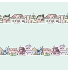 Seamless of cute doodle house vector