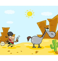 Cowboy escapes to his horse vector