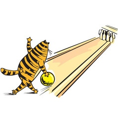 Cat playing bowling vector