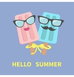 Ice cream couple with lips mustaches eyeglasses vector