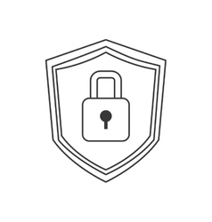 Shield with lock icon vector