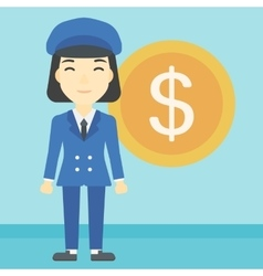 Successful business woman with dollar coin vector