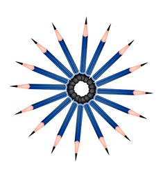 A Circle Formed of Sharpened Pencils on White vector image vector image