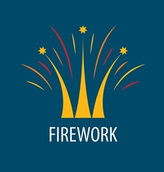 Abstract logo fireworks in the form of a crown vector