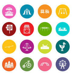 amusement park icons many colors set vector image vector image