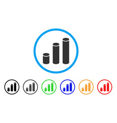 bar chart cylinders rounded icon vector image vector image