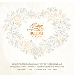 Beautiful vintage hearts frame from flowers roses vector image