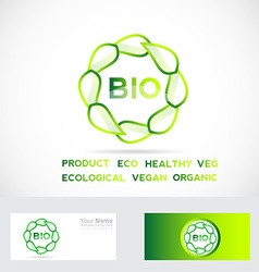 Bio leafs circle logo vector