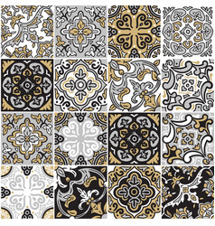 Ceramic tile with colorful patchwork in spanish vector