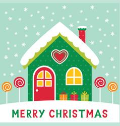 Christmas cartoon winter house vector