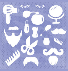 Collection of white beauty and care icons vector