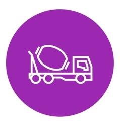 Concrete mixer truck line icon vector
