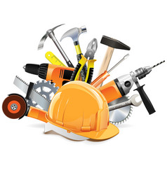 Construction tools with helmet vector