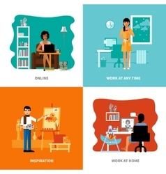 Different possibilities of freelancers set vector