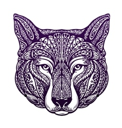 Dog or wolf painted tribal ethnic ornament vector