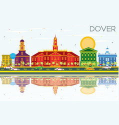 Dover skyline with color buildings blue sky and vector