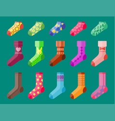 flat design colorful socks set vector image vector image