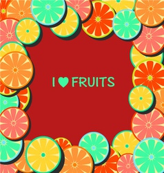 Flat-Frame with citrus vector image