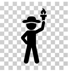 Gentleman with freedom torch icon vector