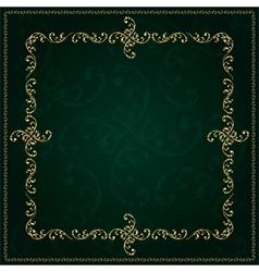 Gold frame with vintage floral elements vector image vector image