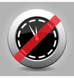 Gray chrome button - no last minute clock vector