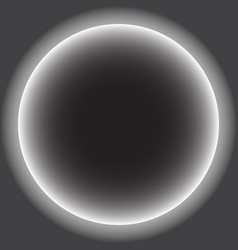 Gray circle with white halo solar eclipse vector
