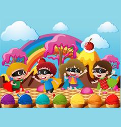 Happy children in hero costume in candyworld vector