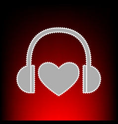 Headphones with heart postage stamp or old photo vector