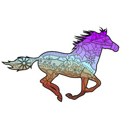 horse with transition colors vector image vector image