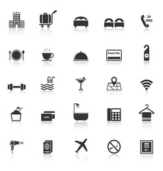 Hotel icons with reflect on white background vector