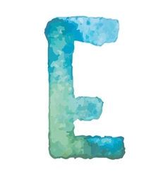 Letter e colorful watercolor aquarelle font type vector