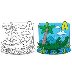 Little crocodile coloring book Alphabet A vector image