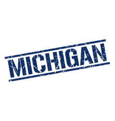 Michigan blue square stamp vector