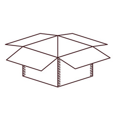 monochrome silhouette with box of cardboard opened vector image