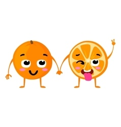 Orange cute fruit character couple vector