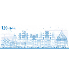 outline udaipur skyline with blue buildings vector image vector image